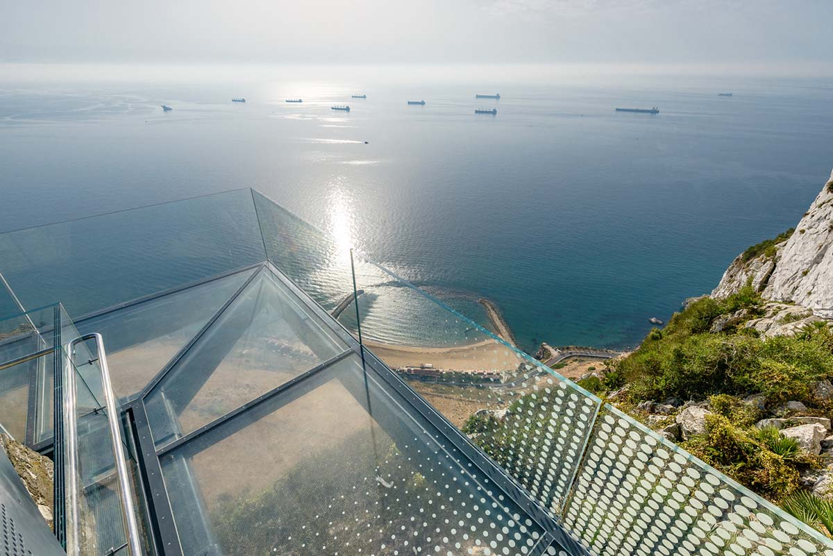the clear glass footpath