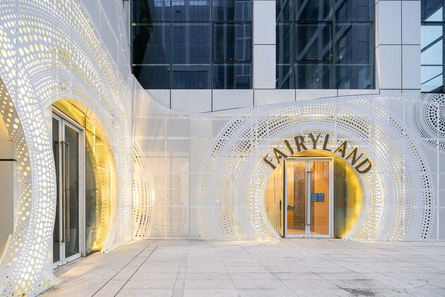 the big entrance in gold light