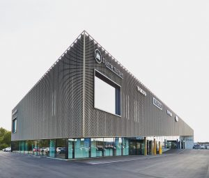 The automotive Showroom with expanded metal facades