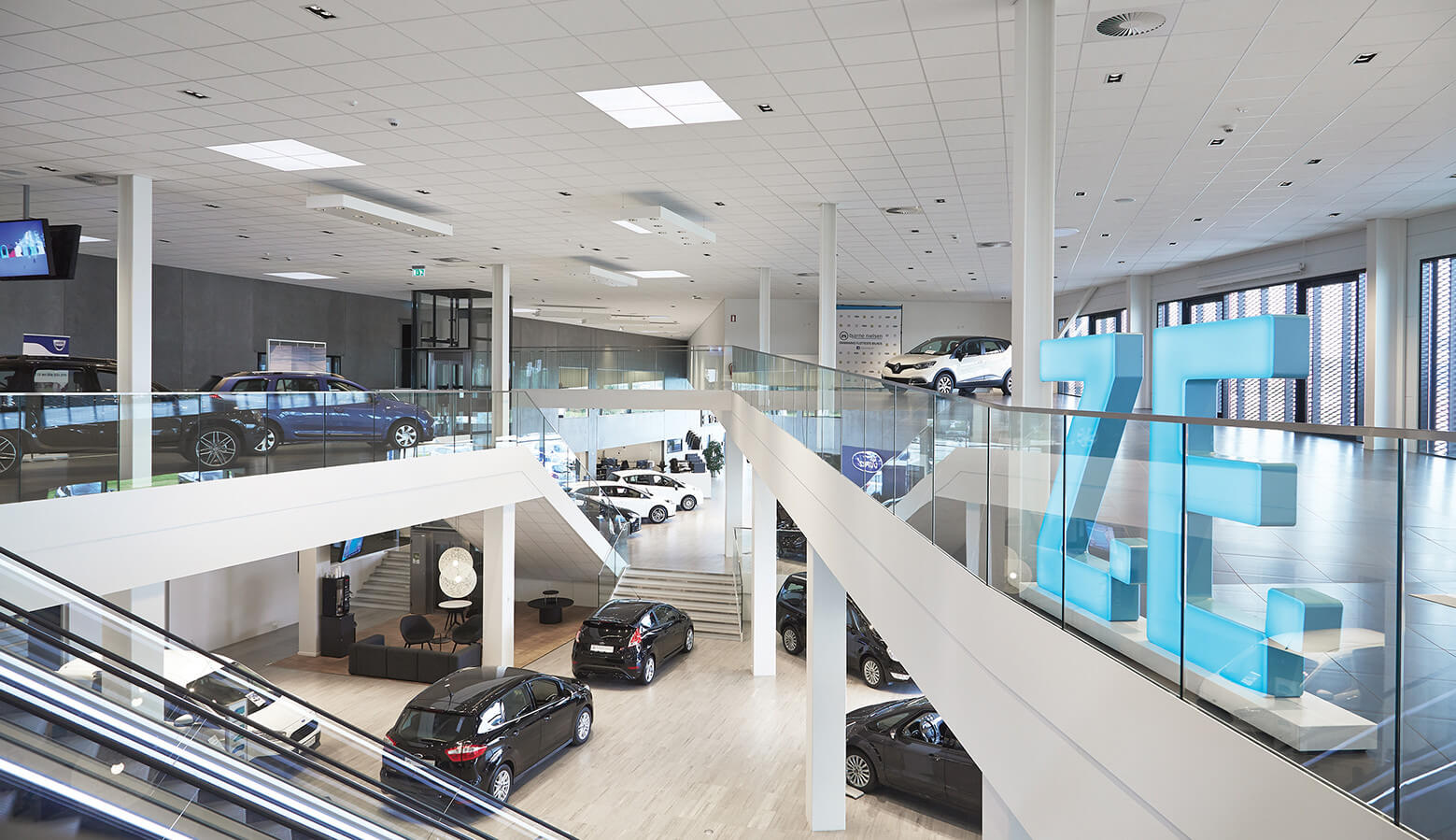 showroom, cars and stairs