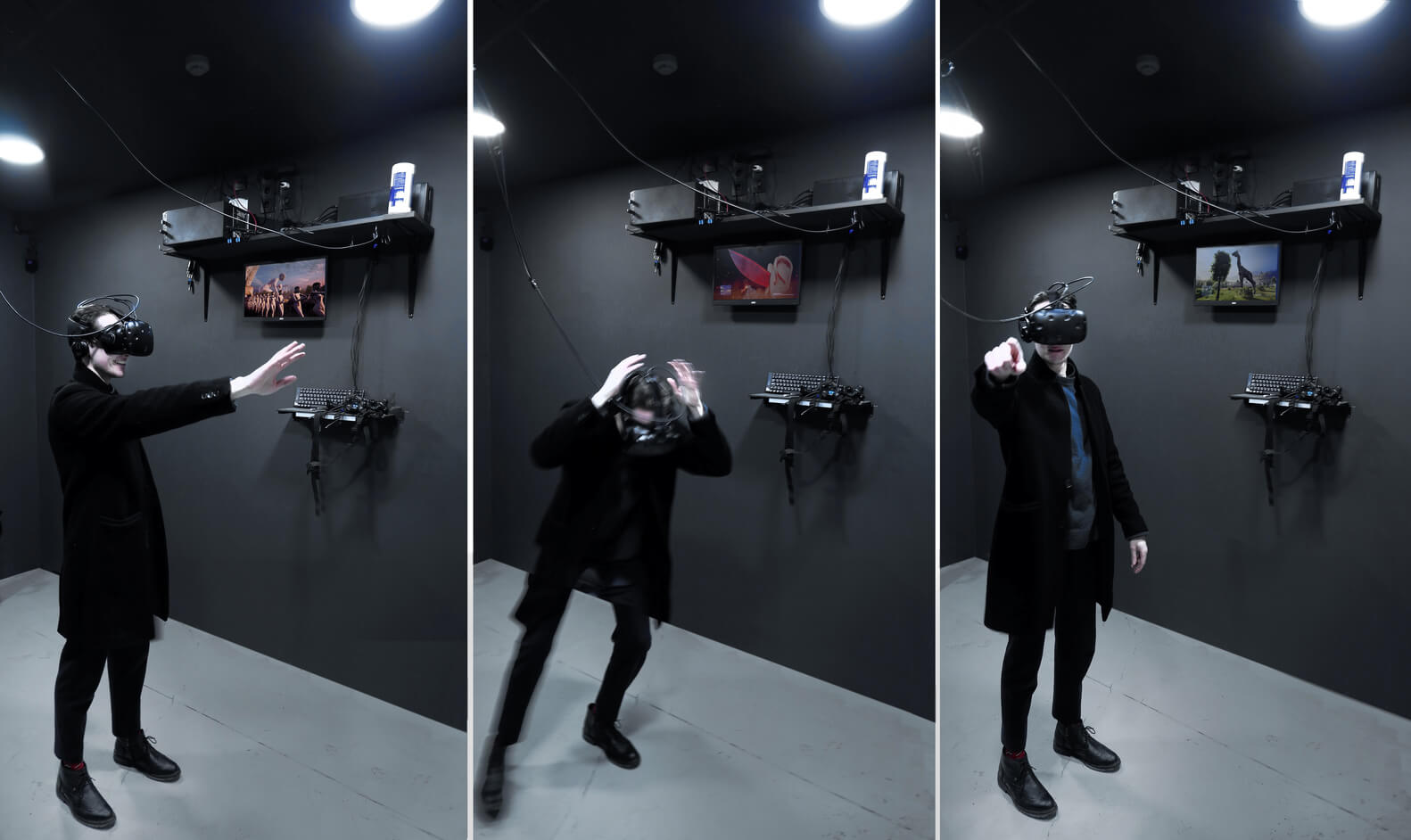 the visitor experiencing VR