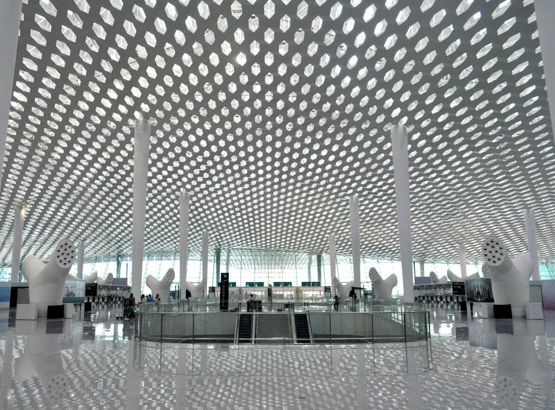 white perforated metal panel suspended ceiling