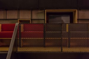Point Theatre using expanded metal bookcase