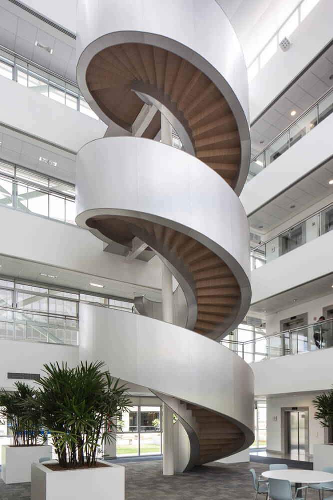 spiral three-floor stairs