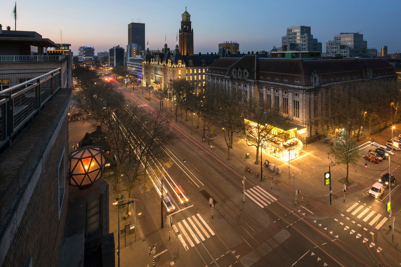 the crossroad near McDonald's at night in Rotterdam